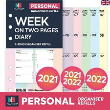 More details for 2021 / 2022 filofax personal compatible week on two pages diary organiser refill