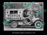 OLD POSTCARD SIZE PHOTO OF WARWICK QUEENSLAND QATB TOWN AMBULANCE CAR 1912