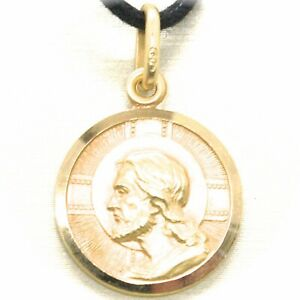 SOLID 18K YELLOW GOLD JESUS CHRIST REDEEMER 15 MM MEDAL, PENDANT, MADE IN ITALY