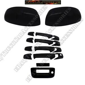 FOR 07-13 SILVERADO GMC Sierra 4 DOOR HANDLE+MIRROR TAILGATE Black Gloss COVERS
