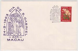 (K159-35) 1963 Macau 1A flowers DIA DE S. Gabriel (AH)