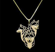 Siberian Husky Pendant Necklace Gold Tone  ANIMAL RESCUE DONATION