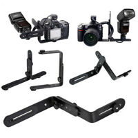 Dual-L Adjustable Flash Bracket For Canon Nikon Speedlite DSLR Cameras Useful