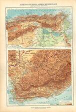 Carta geografica antica ALGERIA TUNISIA SUD AFRICA De Agostini 1927 Antique map