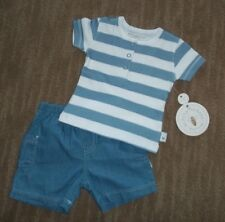 BURT'S BEES Organic Cotton Rugby Outfit 2pc Short SET Infant Sz 0 - 3 Months NEW