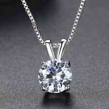 Hochwertig Silber Halskette Rund Anhänger mit Zirkonia für Damen Silberkette