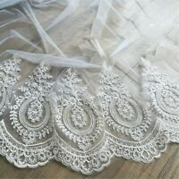 Costume Embroidery Ribbon Wedding Dress Blossom Edging Corded Craft Lace Trim 1Y