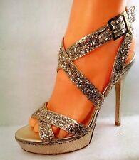 Jimmy Choo Course Glitter Gold Heel Sandal Women US 7.5 / 37.5
