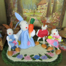 Vtg 50s Dollhouse BUNNY DOLL FAMILY Easter Pom Pom Animal Figurine Lot W Germany