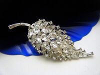 Stunning Vintage Crown Trifari Pat Pend Rhinestone Baguettes Leaf Brooch
