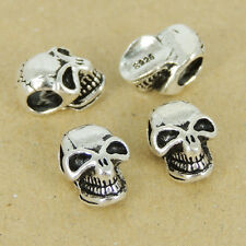 4 Pcs 925 Stamp Sterling Silver Skull Bead Voldemort Jewelry Making WSP431X4