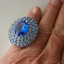 Beautiful Iarge Blue Violet Tanzanite Silver Ring 4.5 X 4 Cm. Wide Size N12