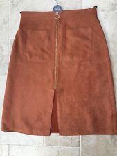 Miss Selfridges Faux Suede Tan Zip Front Skirt Size M