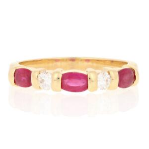 1.43ctw Taglio Ovale Anello Rubino e Diamanti - 18k Oro Giallo Misura 7