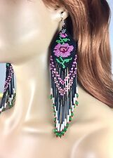 NEW  BEADED HANDMADE NATIVE INSPIRED BLACK EXTRA LONG ROSE FLOWER EARRINGS E58/2