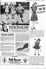1941 Poll-Parrot Star Brand Shoes Print Ad Uncle Sam Demands Leather