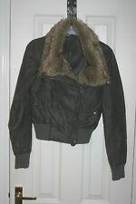 NEW LOOK Womens Grey Fur JACKET Faux Leather PVC uk8 eu34 us4 Chest c34ins c86cm