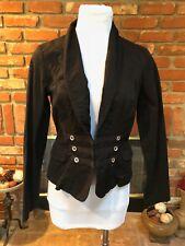 CAbi Military Steampunk Dressy Blazer Jacket Black Size 4 Cotton Stretch Fitted