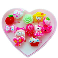 12pcs Useful Wholesale Mixed Lots Cute Cartoon Kids Resin Lucite Rings & Box