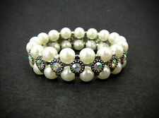 Double Row Pearl Stretch Bracelet With Crystals in Antique Silver finish - New