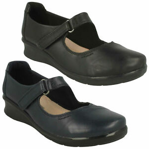 HOPE HENLEY LADIES CLARKS MARY JANE WIDE EVERYDAY WORK LEATHER WEDGE SHOES