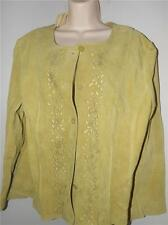 nwt j Jill light olive green leather cut outs short jacket ls top size xl
