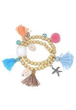 Bracelet Wrap with Shells Tassels & Pompoms 18,5cm