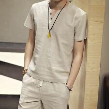 Men's Flax Linen T-Shirt Casual V-Neck Short Sleeve Shirt Tops Tees Breathable