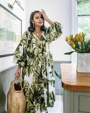 H/&M white kaftan dress in palm leaves print Size 14 BNWT Sold Out