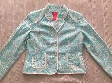 Oscar by Oscar De La Renta Size 14 Aqua and White Blazer with Clear Buttons