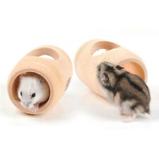 Hamster toy WOODEN  REAL WOOD House  8x4cm Gerbil Mice#