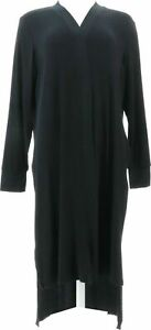 Cuddl Duds Women's Softwear with Stretch Ribbed Open Duster (Black, XL) A373490
