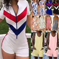 Women Holiday Mini Playsuit Floral Jumpsuit Summer Romper Beach Shorts Dress USA