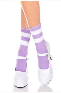 Opaque Color Ankle Hi Acrylic Athletic Skater Socks Two White Striped Trim USA