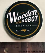 "NEW UNUSED Circle 3"" Wooden Robot Brewing Co Craft Beer Sticker Charlotte, NC"