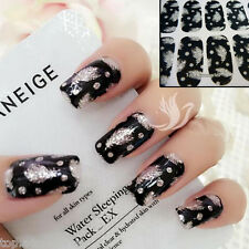 Sparkly Feather Nail Art tips Sticker Decal Full Wraps Acrylic#06073 Free P&P
