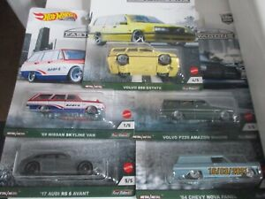HOTWHEELS NEW CAR CULTURE FAST WAGONS FULL SET OF 5  ALLOYS RUBBER TYRES ,,