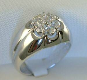 2.3 carat cz 7 stone cluster mens ring 316 Stainless Steel size 12 TK944 T20