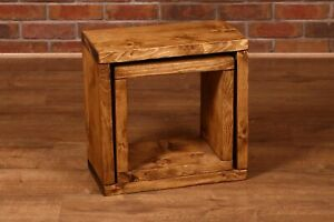 Rustic Custom Dark Oak Country Nest of Tables side table solid wood