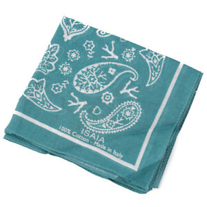 New ISAIA Teal Bandana Print Lightweight Cotton Handkerchief / Pocket Square