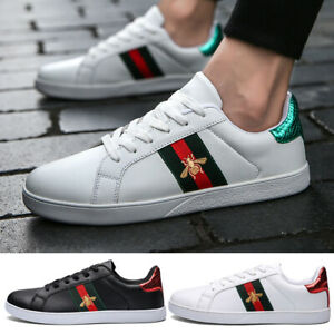Mens Womens Trainers Shoes Lace Up Casual Sports Flat Heels Running White Shoes