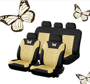 9x Black/Beige Car Seat Covers Wear-Resistant Washable Fit for Most 5-Seat Cars