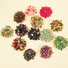 12 PCS Party Favors Assorted Colors Stone Chip Beaded Elastic Stretch Rings