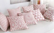 Geometric Aztec Chevron Cotton Pink Embroidery Cushion Cover Home Decor 18""