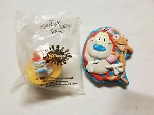 Ren & Stimpy Toy Lot - 1996 Nickelodeon Set Of 2 Yellow Top And Blue Puppet