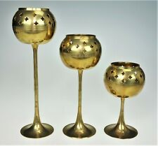 3 Piece Brass Tea Light Holders Cut Out Stars Tall Boho Romantic