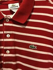 Lacoste polo shirt Men's Size 5 Red and White Striped 100% Cotton