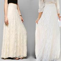 Women High Waist Skirt Lace Double Layer Pleated Long Maxi Elastic Waist Skirt