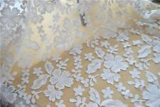 "63"" Wide Lace Fabric Flora Embroidery Tulle Lace Wedding Dress Fabric 1 Meter"