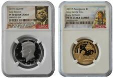 2019-S Kennedy half dollar and Sacagawea dollar NGC PF70 ER Proof Clad Coins